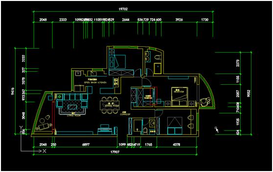 整屋案例:120平现代两居室 几何线条里的至简时尚